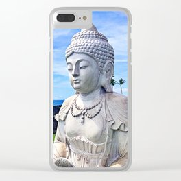 """""""Go where you feel most alive"""" quote Hawaiian white Buddha Clear iPhone Case"""