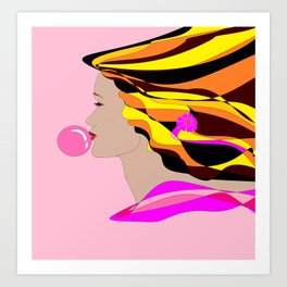 A Girl and Bubble Gum Art Print