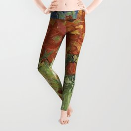 Vincent van Gogh's Vase with Daisies and Poppies Leggings