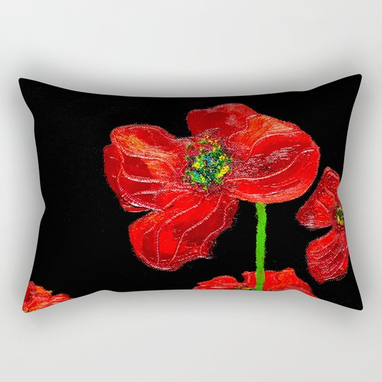 red flowers on black Rectangular Pillow