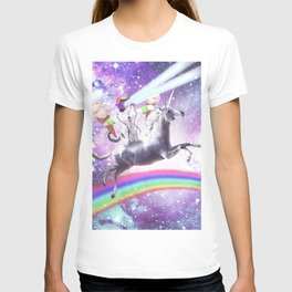 Lazer Rave Space Cat Riding Unicorn With Ice Cream T-shirt