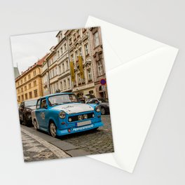 Trabant on the street of Prague Stationery Cards