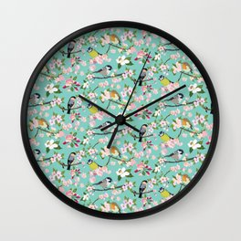 Blossom and Birds Turquoise Print Wall Clock