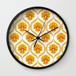 Ivory, Orange, Yellow and Brown Floral Retro Vintage Pattern Wall Clock