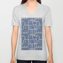 Under Construction Digger Vehicles Blue Pattern Unisex V-Neck