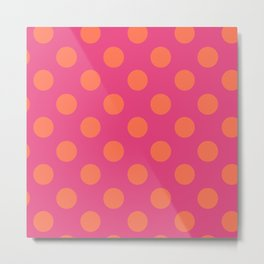 fuchia with orange polka dots Metal Print