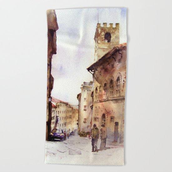 Italy oldtown Arezzo Beach Towel