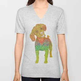Excited Poodle Unisex V-Neck