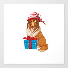 Christmas theme with dog and present box shirt Canvas Print