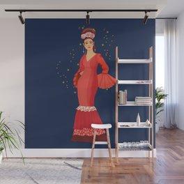 Flamenca in red dress Wall Mural