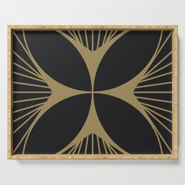 Diamond Series Floral Cross Gold on Charcoal Serving Tray