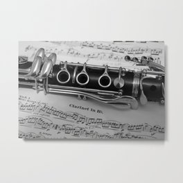 B Flat Clarinet in Black & White Metal Print
