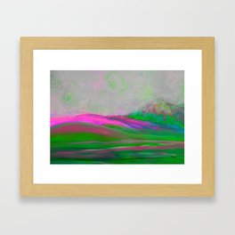Clouds Rolling In Abstract Landscape Pink Framed Art Print