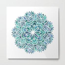Mandala Succulent Blue Green Metal Print