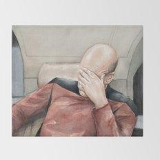 Picard Facepalm Meme Funny Geek Sci-fi Captain Picard TNG Throw Blanket