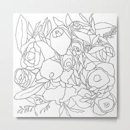 Graphic Blooms BW Metal Print