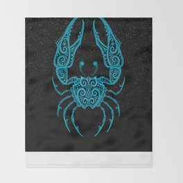 Blue Cancer Zodiac Sign in the Stars Throw Blanket