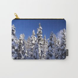 Snow covered trees in the forest. Winter day with blue sky. Carry-All Pouch