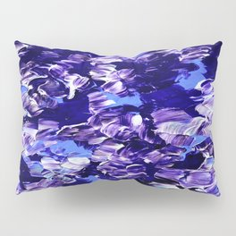 FLORAL FANTASY 2 Bold  Blue Lavender Purple Abstract Flowers Acrylic Textural Painting Garden Art Pillow Sham