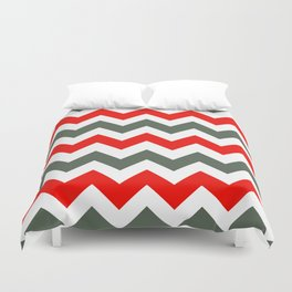 Chevron Pattern In Poppy Red Grey and White Duvet Cover