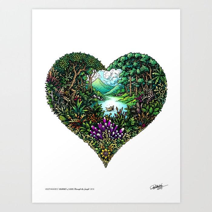 Through the Jungle: Journey of Love - Colored Kunstdrucke