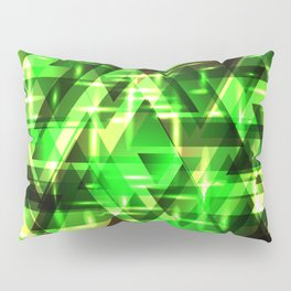 Spring gentle green horizontal strict stripes of sparkling grass triangles. Pillow Sham