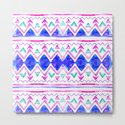 Abstract blue purple pink hand drawn watercolor geometric aztec pattern by girlytrend