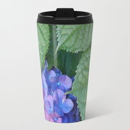 Hydrangea and Leaves Travel Mug