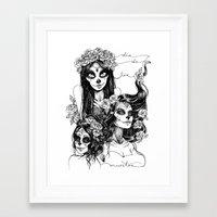 dia de los muertos Framed Art Prints featuring Dia de los Muertos by Khaedin