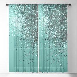 Sparkling Turquoise Lady Glitter #1 #shiny #decor #art #society6 Sheer Curtain