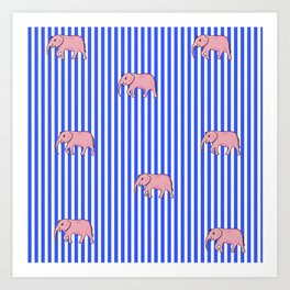 Strip and Elephants . Home Decor Art Print