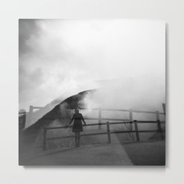 A Girl in the Fog of Owakudani - Hakone, Japan - Black and white Holga double exposure film photograph Metal Print