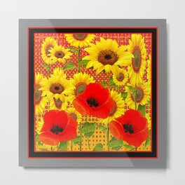 RED POPPIES YELLOW SUNFLOWERS  GREY PATTERN ART Metal Print