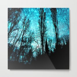 black trees turquoise teal sparkle space Metal Print