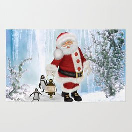 Santa Claus with funny penguin Rug