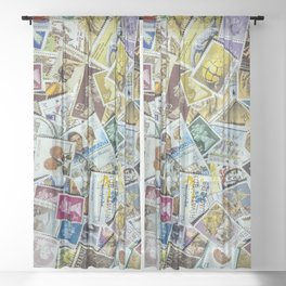 Postage Stamp Collection Sheer Curtain
