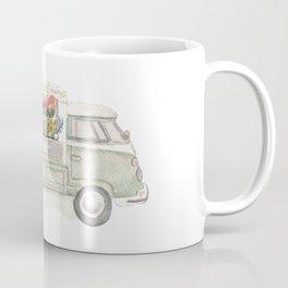 Flower Truck Watercolor Print Mint Coffee Mug