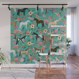 Horses floral horse breeds farm animal pets Wall Mural