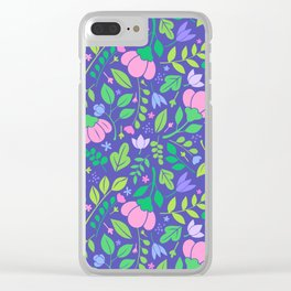 Dark Periwinkle Woodland Floral Clear iPhone Case