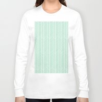 herringbone Long Sleeve T-shirts featuring Herringbone Mint Inverse by Project M