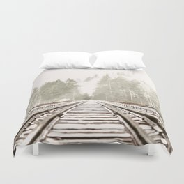 Railway in the forest Duvet Cover
