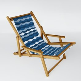 Classic Blue Wave Pattern Sling Chair