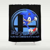 super smash bros Shower Curtains featuring Sonic - Super Smash Bros. by Donkey Inferno