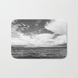 Black And White Lake Landscape - White Cumulus Clouds - Scandinavia - #Society6 #buyart Bath Mat