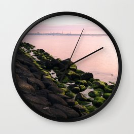 Green Stones and Skyline Wall Clock