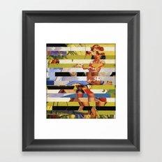 Glitch Pin-Up Redux: Farrah Framed Art Print