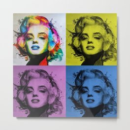 Marilyn in Technicolor; Hollywood Icon pop art portrait painting  Metal Print