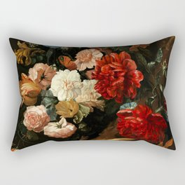 "Ernst Stuven ""Floral still life with Yellow-Bellied Toad and snake"" Rectangular Pillow"