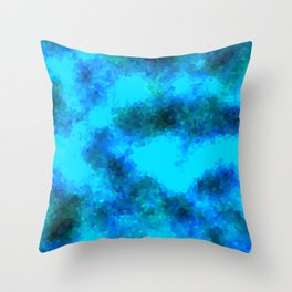 Stained Glass Camo -- Aqua Throw Pillow