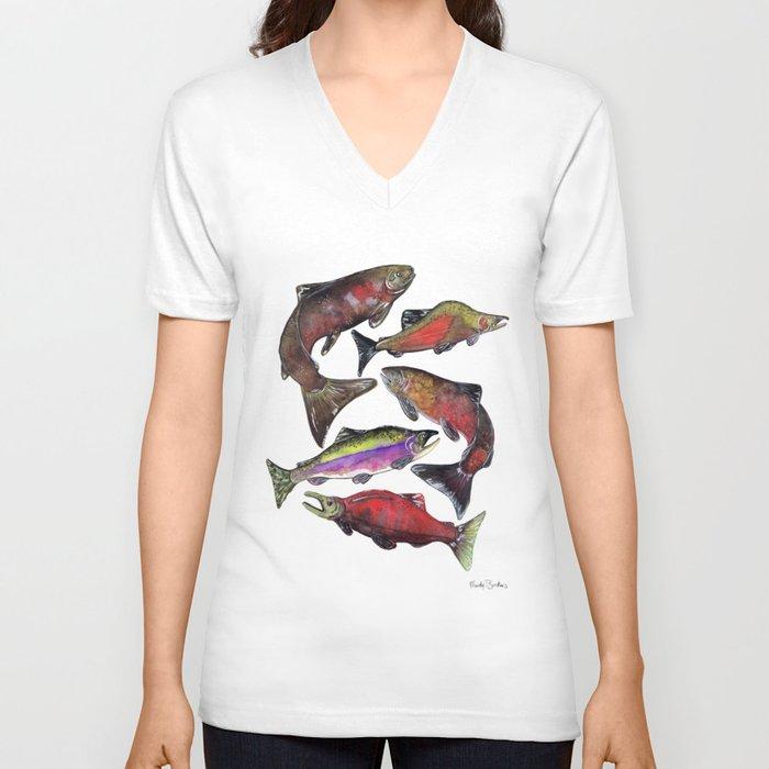 Salmon Fish Chart Unisex V-Neck